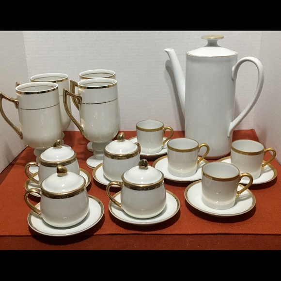 Vintage Other - Vintage Coffee-Tea White & Gold Service
